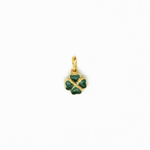Genuine 9ct Gold Lucky Four Leaf Clover Charm/Pendant in Green Enamel Finish